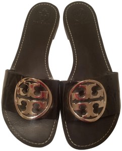 Tory Burch Slides Patent Flats Grania Black Sandals