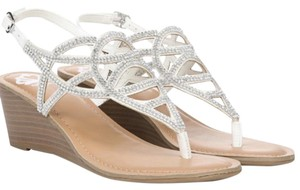 Fergie White & Silver Wedges