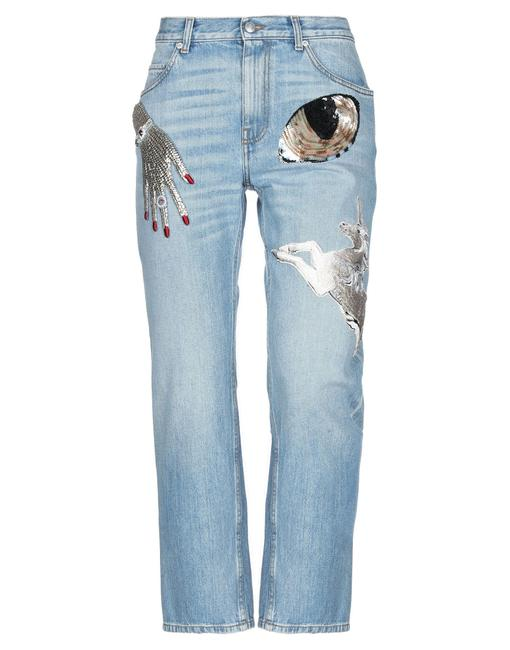 Item - Blue Light Wash Denim Unicorn Sequins Logo Solid Color Mid High Waist Skinny Jeans Size 26 (2, XS)