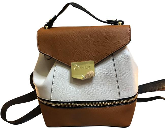 Item - Cute Take On A Tan and Cream Leather Backpack