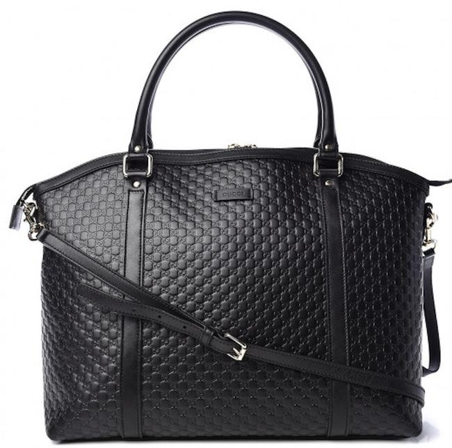 Gucci New Gg Satchel Microguccissima Tote Black Leather Shoulder Bag Gucci New Gg Satchel Microguccissima Tote Black Leather Shoulder Bag Image 1
