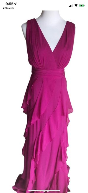 Item - Pink Fuchsia Ruffled Gown Formal Long Cocktail Dress Size 10 (M)