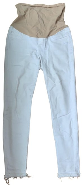 Item - White Light Wash Maternity Mid Rise Skinny Crop Capri/Cropped Jeans Size 4 (S, 27)