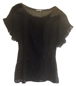 Studio Y Black Lace Ribbons Ruffles Whimsical Top
