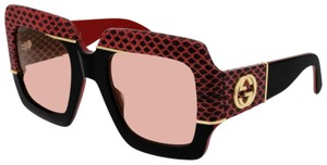 GUCCI NEW GUCCI GG0484S SUNGLASSES, BLACK/RED (004) WITH PINK LENSES