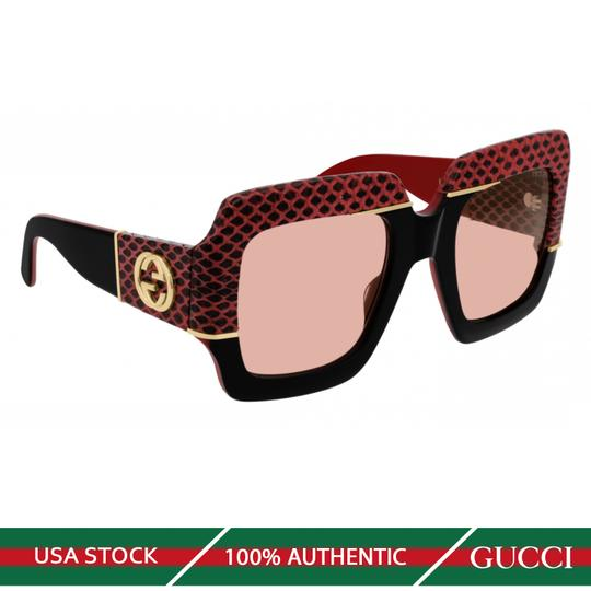 GUCCI NEW GUCCI GG0484S SUNGLASSES, BLACK/RED (004) WITH PINK LENSES Image 1