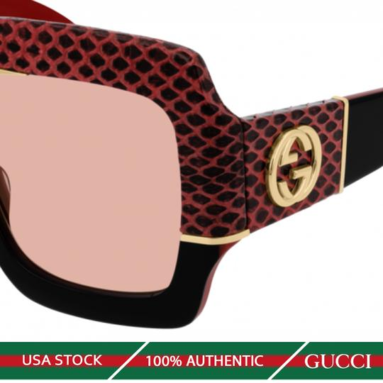 GUCCI NEW GUCCI GG0484S SUNGLASSES, BLACK/RED (004) WITH PINK LENSES Image 2