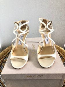 Jimmy Choo Ivory Ivette 85 Satin Strappy Mfg 5860 Sandals Size US 9 Regular (M, B)