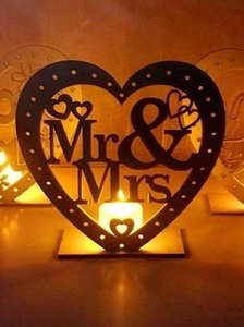 Wooden Ornaments Led Light Bridal Mr Mrs Table Party Centerpiece