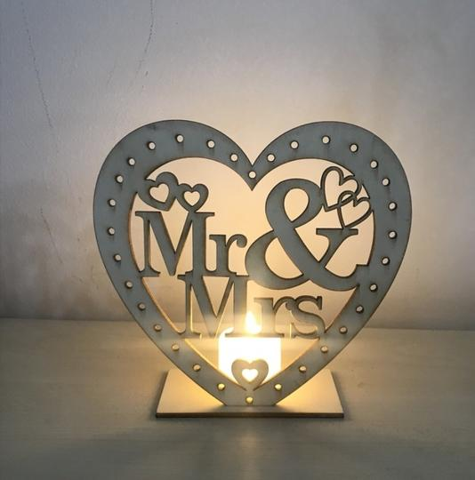 Wooden Ornaments Led Light Bridal Mr Mrs Table Party Centerpiece Image 1