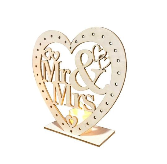 Wooden Ornaments Led Light Bridal Mr Mrs Table Party Centerpiece Image 3