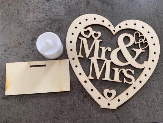 Wooden Ornaments Led Light Bridal Mr Mrs Table Party Centerpiece Image 4