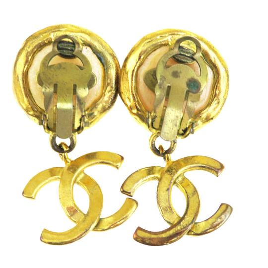 Chanel CHANEL CC Logo Fringe Earrings Imitation Pearl Gold-tone Clip-On 93P Image 5