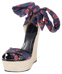 Gucci Heels Espadrilles Wedges Blue Sandals
