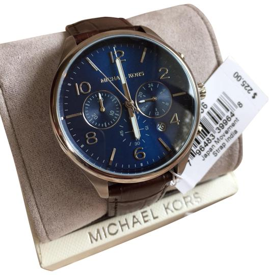 Preload https://img-static.tradesy.com/item/26159424/michael-kors-blue-mk8636-classic-48mm-men-s-chronograph-brown-leather-watch-0-1-540-540.jpg