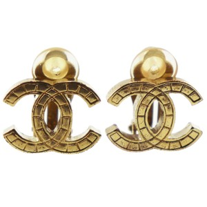 Chanel CHANEL CC Logos Earrings Gold Clip-On 03 P France Vintage EE132 M