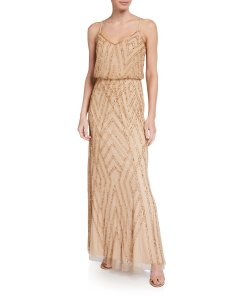 Adrianna Papell Champagne/Gold Diamond Beaded Blouson Gown Formal Bridesmaid/Mob Dress Size 6 (S)