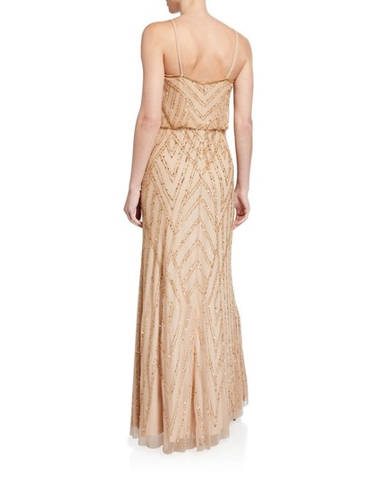 Adrianna Papell Champagne/Gold Diamond Beaded Blouson Gown Formal Bridesmaid/Mob Dress Size 6 (S) Image 1