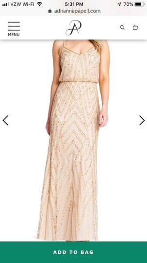 Adrianna Papell Champagne/Gold Diamond Beaded Blouson Gown Formal Bridesmaid/Mob Dress Size 6 (S) Image 2