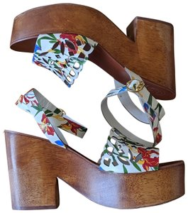 Tory Burch Floral Perforated White Platforms