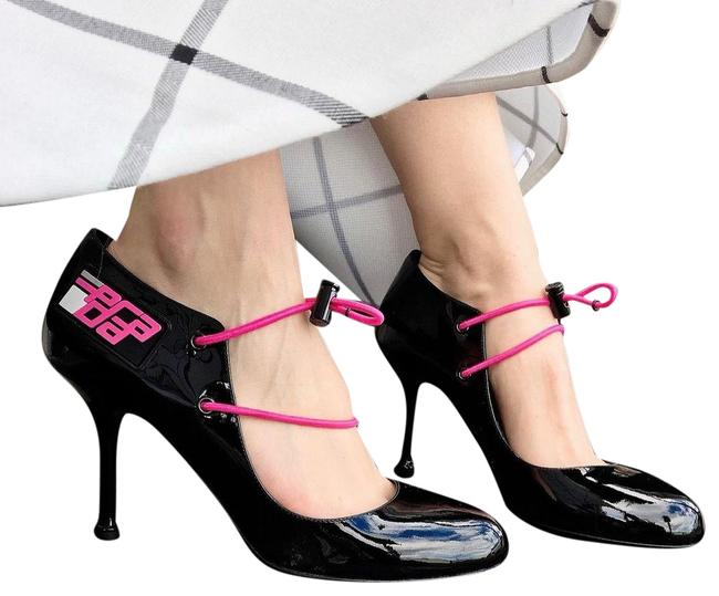 Item - Black Multiple Patent Leather Toggle Lace Up Logo Mary Jane Pumps Size EU 35 (Approx. US 5) Regular (M, B)