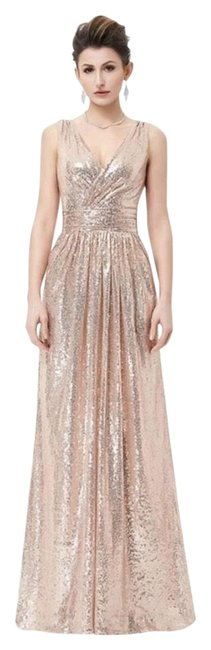 Preload https://img-static.tradesy.com/item/26159552/rose-gold-sequin-evening-gown-prom-long-formal-dress-size-10-m-0-1-650-650.jpg