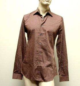 Gucci Brown Men's Cotton/Silk Dress 42/16.5 Slim 269067 2261 Shirt
