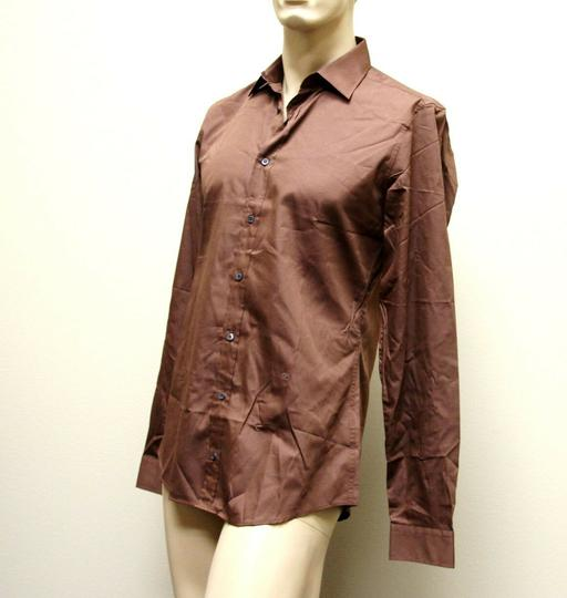 Gucci Brown Men's Cotton/Silk Dress 42/16.5 Slim 269067 2261 Shirt Image 1