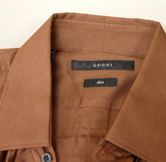 Gucci Brown Men's Cotton/Silk Dress 42/16.5 Slim 269067 2261 Shirt Image 3