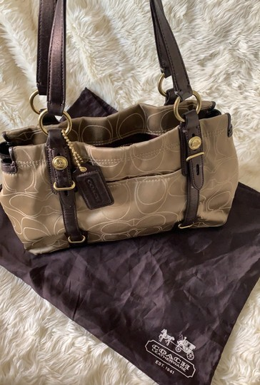 Coach Satchel in Taupe with Brown and Gold trims Image 1