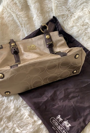 Coach Satchel in Taupe with Brown and Gold trims Image 2