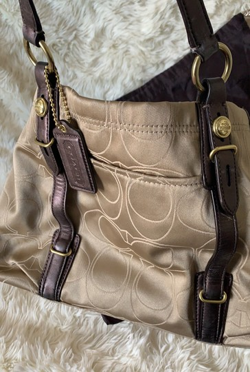 Coach Satchel in Taupe with Brown and Gold trims Image 4