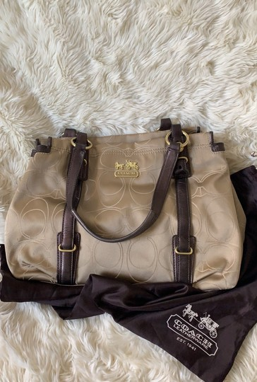 Coach Satchel in Taupe with Brown and Gold trims Image 8