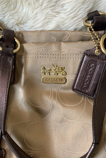 Coach Satchel in Taupe with Brown and Gold trims Image 9