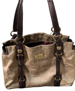 Coach Satchel in Taupe with Brown and Gold trims