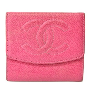 Chanel Chanel CC Caviar Skin Leather Compact Wallet Purse Coin Case Pink Coco