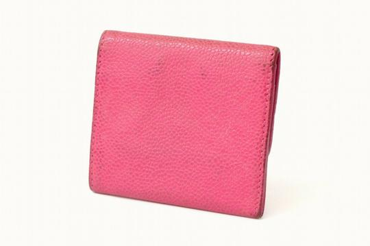 Chanel Chanel CC Caviar Skin Leather Compact Wallet Purse Coin Case Pink Coco Image 1