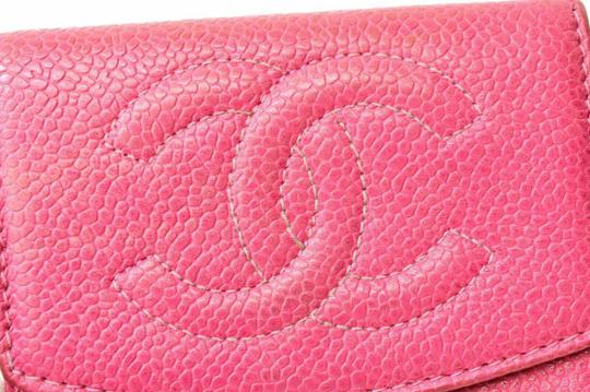 Chanel Chanel CC Caviar Skin Leather Compact Wallet Purse Coin Case Pink Coco Image 10