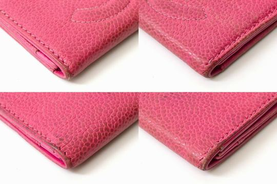 Chanel Chanel CC Caviar Skin Leather Compact Wallet Purse Coin Case Pink Coco Image 6