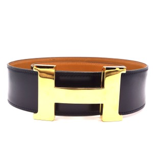 Hermès 42mm Gold Constance H wide Belt large reversible leather