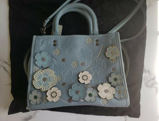 Coach Tea Rose Crystal Floral Satchel in green Image 1