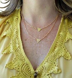 Handmade Breast Cancer Layer Triangle Necklace Jewelry