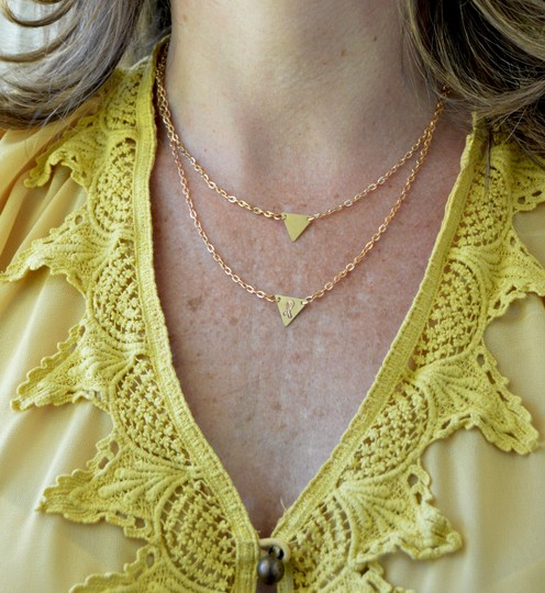 Handmade Breast Cancer Layer Triangle Necklace Jewelry Image 2