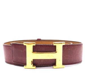 Hermès 32Mm Gold H Belt Reversible Belt leather vintage adjustable Size 70