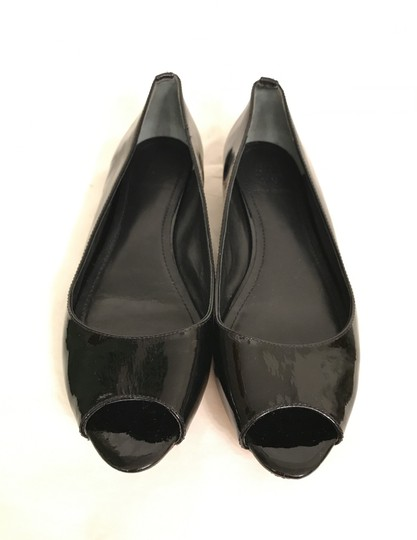 Tory Burch Patent Leather Flat Pumps Open Toe Peep Toe Black gold Wedges Image 2