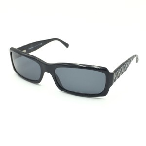 Chanel Rectangular 5125 501/87 Black Quilted Silver Gray Sunglasses.