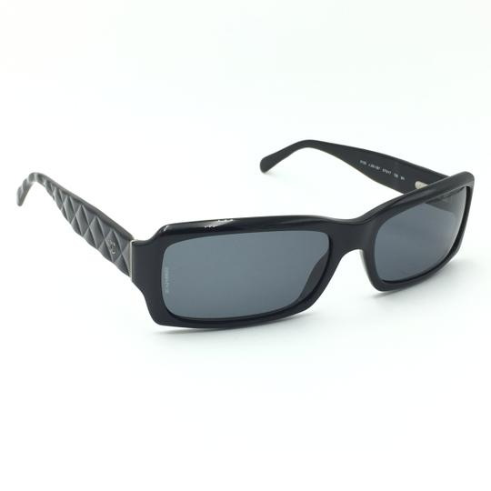 Chanel Rectangular 5125 501/87 Black Quilted Silver Gray Sunglasses. Image 1