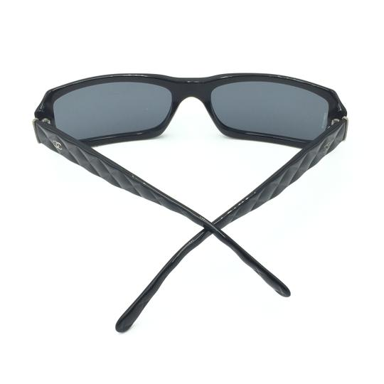 Chanel Rectangular 5125 501/87 Black Quilted Silver Gray Sunglasses. Image 9