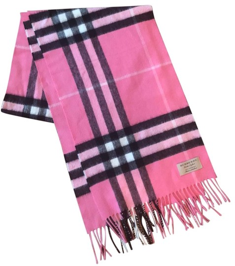 Preload https://img-static.tradesy.com/item/26159873/burberry-pink-black-and-cream-heritage-giant-check-fringed-cashmere-muffler-scarfwrap-0-1-540-540.jpg