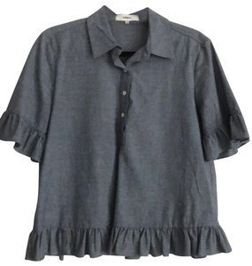 LIKELY Button Down Shirt gray navy denim look
